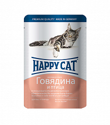 Консервы для кошек Happy Cat Говядина и птица 0,1 кг