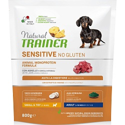 Сухой корм для собак мелких пород Trainer Natural Sensitive No Gluten Adult Dog Mini без глютена с ягненком